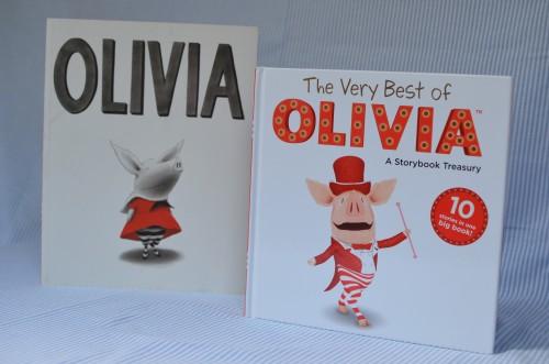 Vasemmalla Ian Falconerin Olivia ja oikealla televisiosta tuttu vähän värikkäämpi Olivia.