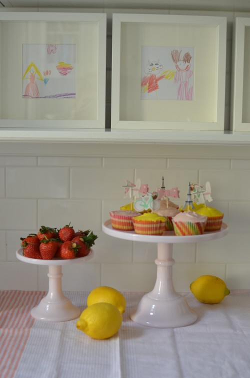 We framed some of the girls art over the weekend too. These matched the cupcakes nicely.