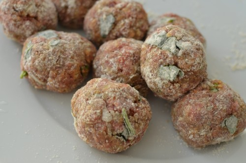 Roll your meatballs in some flour before frying on a pan and adding that lovely marinara sauce and plenty more of fresh basil, sage or whatever is your favorite herb and you have yourself a great dinner that all will love.
