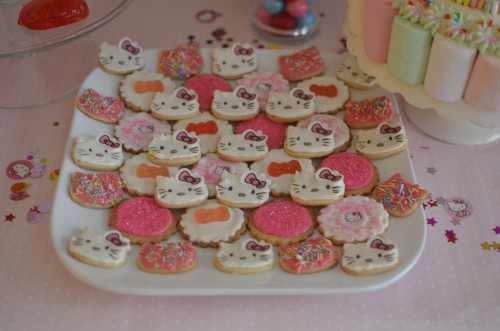 These cookies probably took the longest time to make. The girls helped with these a little. They made the pink ones with plenty of colourful sprinkles on them.
