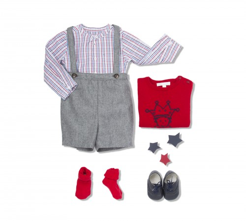 MARIE-CHANTAL - AW15 - BABY BOY SUSPENDER WOOL SHORTS