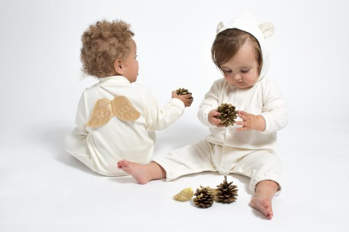 Marie-Chantal - AW15 - gold angel wing baby & cream bear suit baby 3